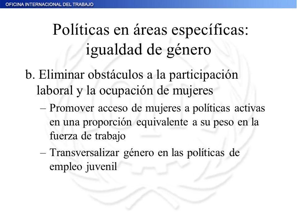 Políticas en áreas específicas: igualdad de género b. Eliminar obstáculos a la participación laboral y la ocupación de mujeres –Promover acceso de muj