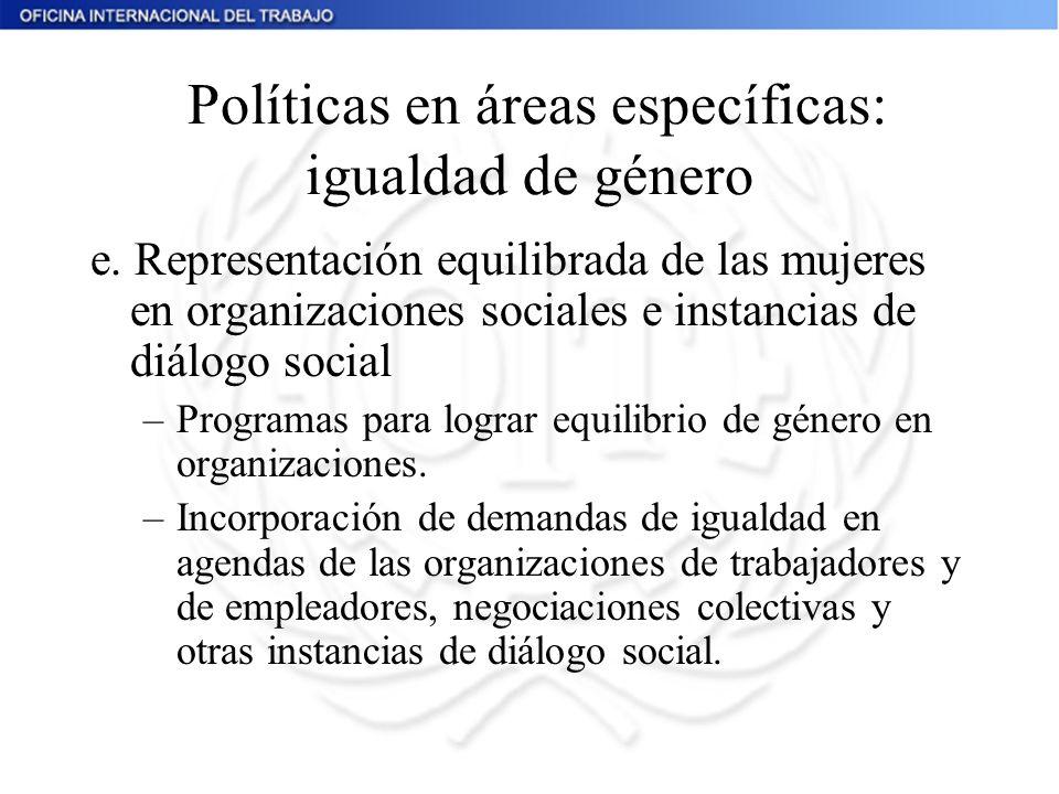 Políticas en áreas específicas: igualdad de género e. Representación equilibrada de las mujeres en organizaciones sociales e instancias de diálogo soc