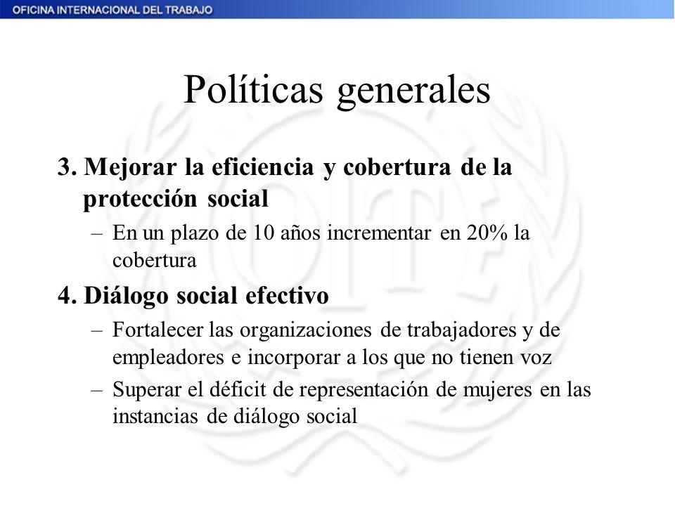 Políticas generales 3. Mejorar la eficiencia y cobertura de la protección social –En un plazo de 10 años incrementar en 20% la cobertura 4. Diálogo so