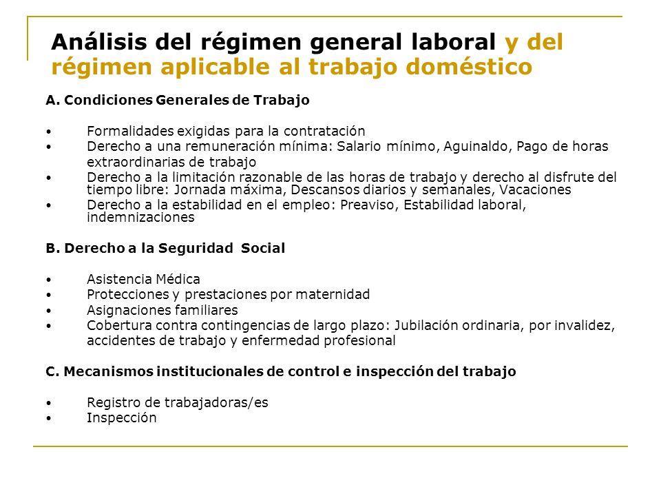 Análisis del régimen general laboral y del régimen aplicable al trabajo doméstico A. Condiciones Generales de Trabajo Formalidades exigidas para la co