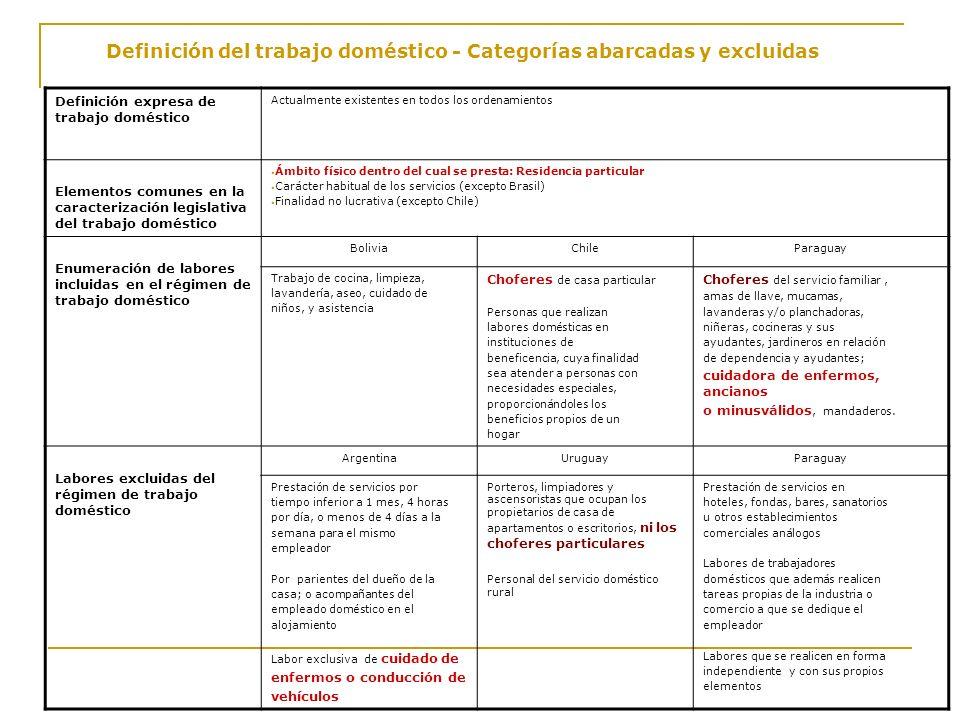 Definición del trabajo doméstico - Categorías abarcadas y excluidas Definición expresa de trabajo doméstico Actualmente existentes en todos los ordena