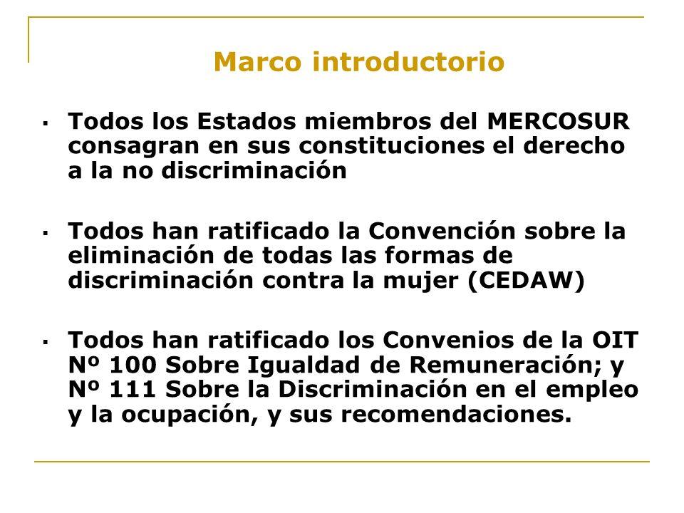 Marco introductorio Todos los Estados miembros del MERCOSUR consagran en sus constituciones el derecho a la no discriminación Todos han ratificado la