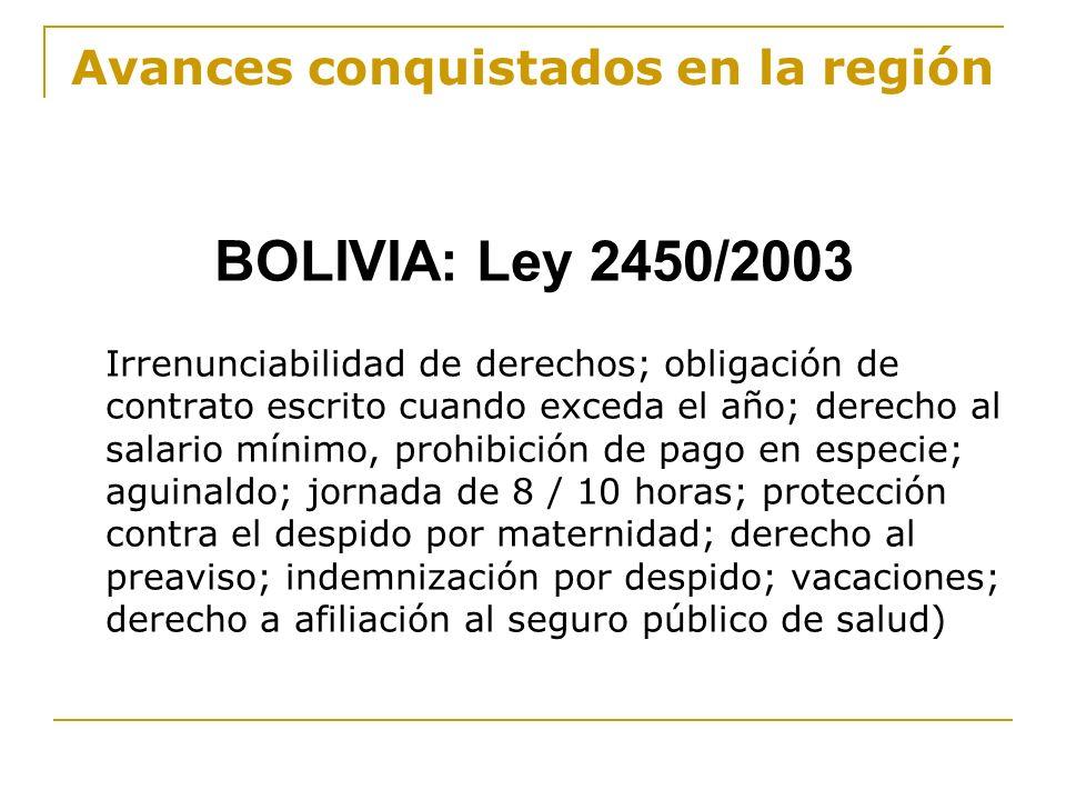 Avances conquistados en la región BOLIVIA: Ley 2450/2003 Irrenunciabilidad de derechos; obligación de contrato escrito cuando exceda el año; derecho a
