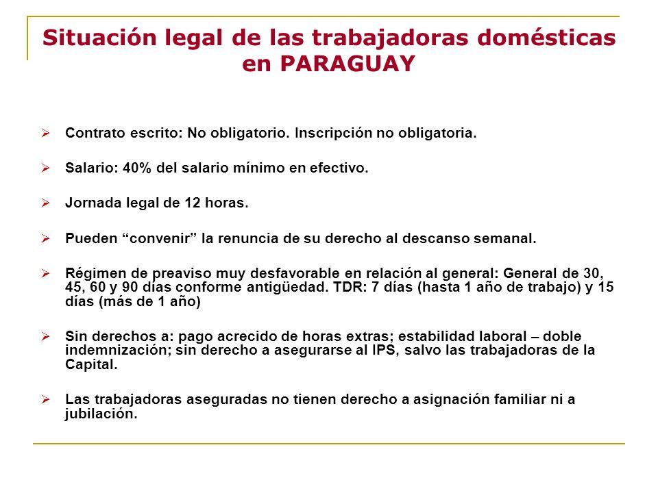 Situación legal de las trabajadoras domésticas en PARAGUAY Contrato escrito: No obligatorio. Inscripción no obligatoria. Salario: 40% del salario míni
