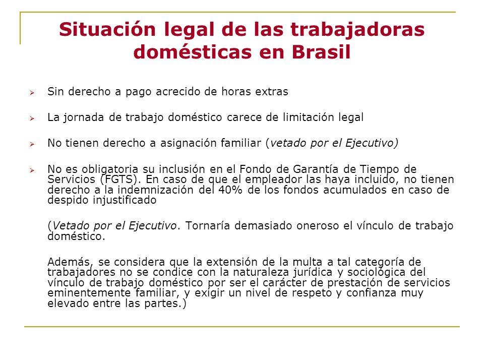 Situación legal de las trabajadoras domésticas en Brasil Sin derecho a pago acrecido de horas extras La jornada de trabajo doméstico carece de limitac