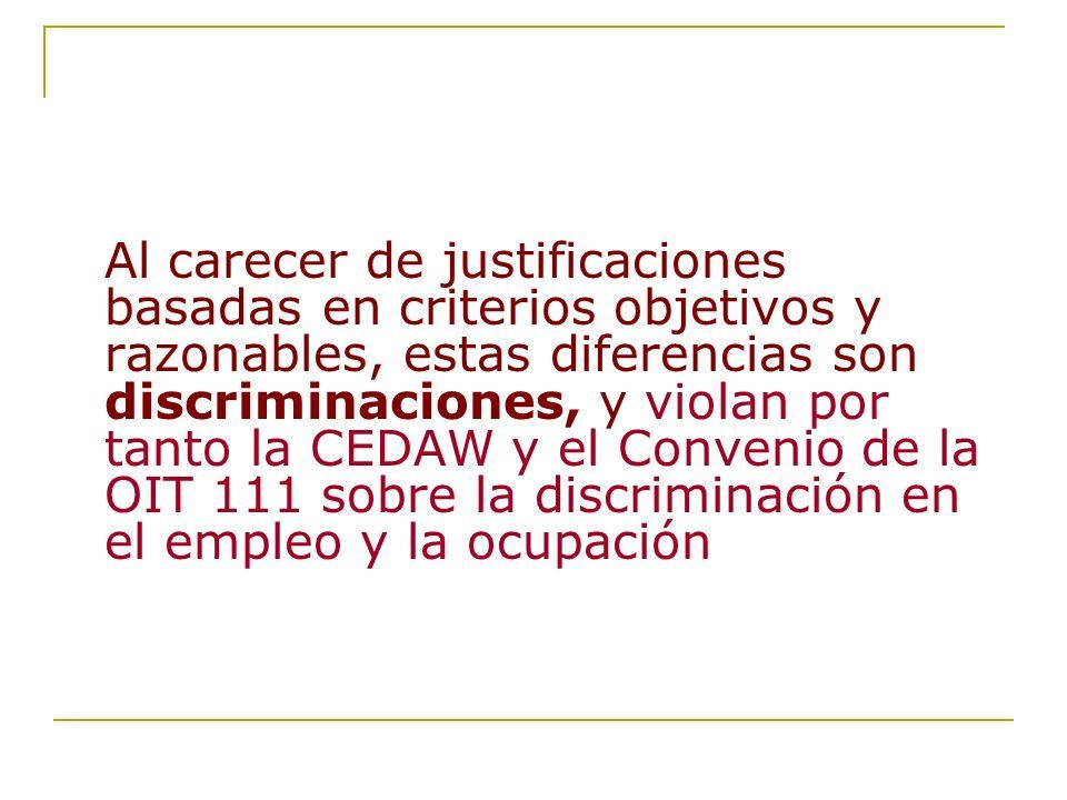 Al carecer de justificaciones basadas en criterios objetivos y razonables, estas diferencias son discriminaciones, y violan por tanto la CEDAW y el Co