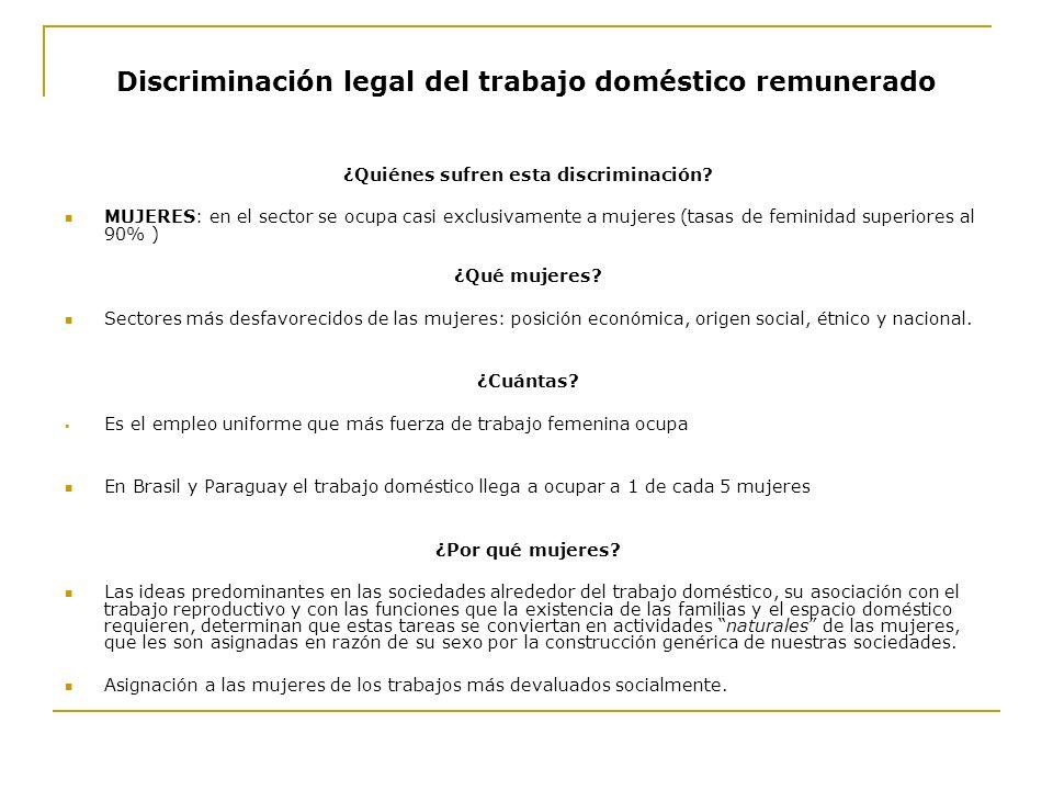 Discriminación legal del trabajo doméstico remunerado ¿Quiénes sufren esta discriminación? MUJERES: en el sector se ocupa casi exclusivamente a mujere