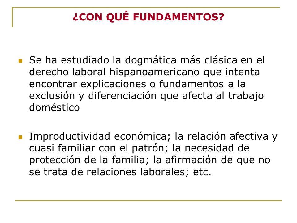 ¿CON QUÉ FUNDAMENTOS? Se ha estudiado la dogmática más clásica en el derecho laboral hispanoamericano que intenta encontrar explicaciones o fundamento