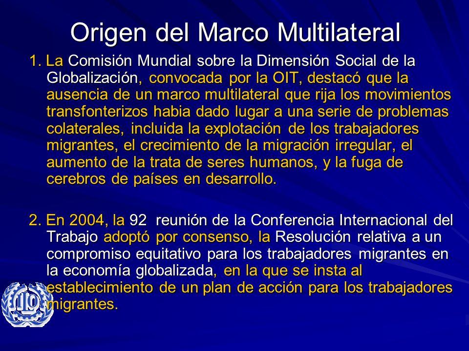 Origen del Marco Multilateral 1. La Comisión Mundial sobre la Dimensión Social de la Globalización, convocada por la OIT, destacó que la ausencia de u