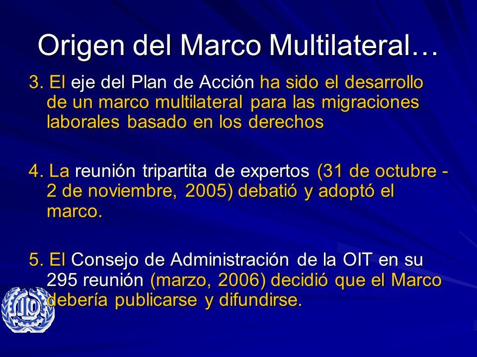Origen del Marco Multilateral… 3. El eje del Plan de Acción ha sido el desarrollo de un marco multilateral para las migraciones laborales basado en lo