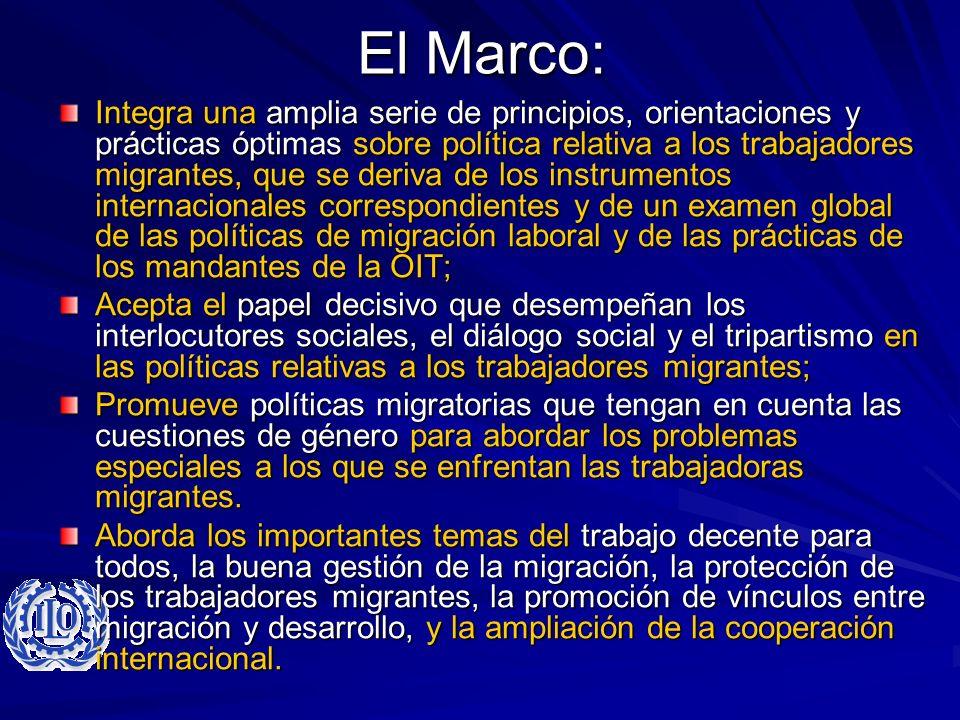El Marco: Integra una amplia serie de principios, orientaciones y prácticas óptimas sobre política relativa a los trabajadores migrantes, que se deriv