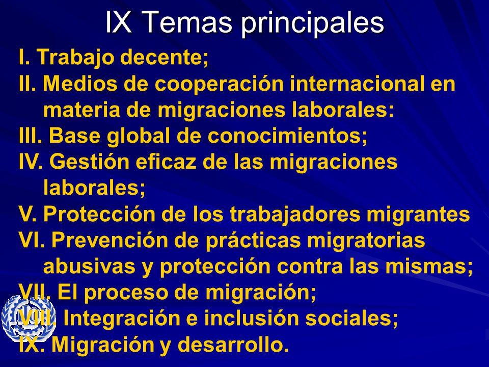 IX Temas principales I. Trabajo decente; II. Medios de cooperación internacional en materia de migraciones laborales: III. Base global de conocimiento