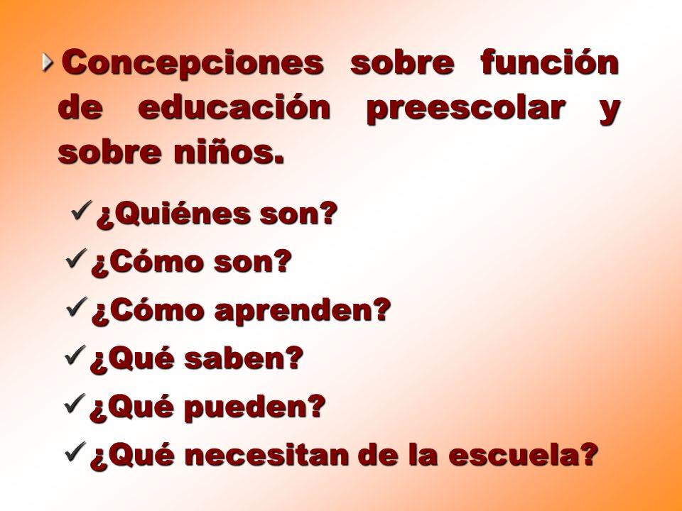 ¿Qué necesitan de la escuela? Concepciones sobre función de educación preescolar y sobre niños. ¿Quiénes son? ¿Cómo son? ¿Cómo aprenden? ¿Qué saben? ¿