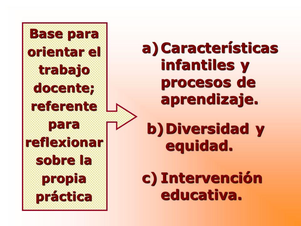 Base para orientar el trabajo docente; referente para reflexionar sobre la propia práctica a)Características infantiles y procesos de aprendizaje. b)D