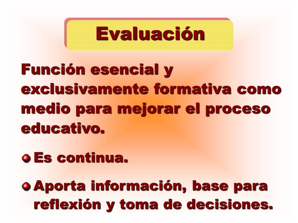 Función esencial y exclusivamente formativa como medio para mejorar el proceso educativo. Es continua. Aporta información, base para reflexión y toma
