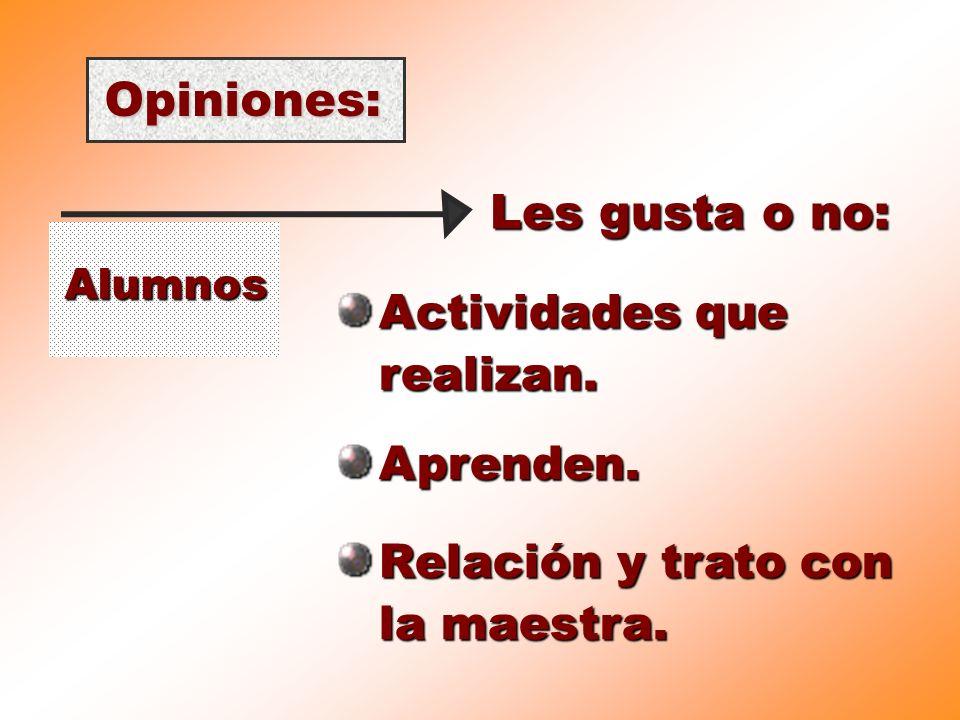 Opiniones: Alumnos Les gusta o no: Actividades que realizan. Aprenden. Relación y trato con la maestra.