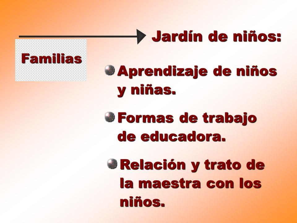 Familias Jardín de niños: Formas de trabajo de educadora. Aprendizaje de niños y niñas. Relación y trato de la maestra con los niños.