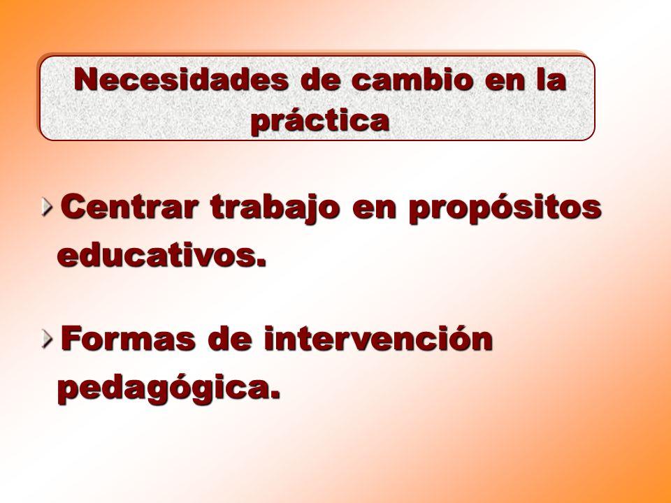 Centrar trabajo en propósitos educativos. Necesidades de cambio en la práctica Formas de intervención pedagógica.