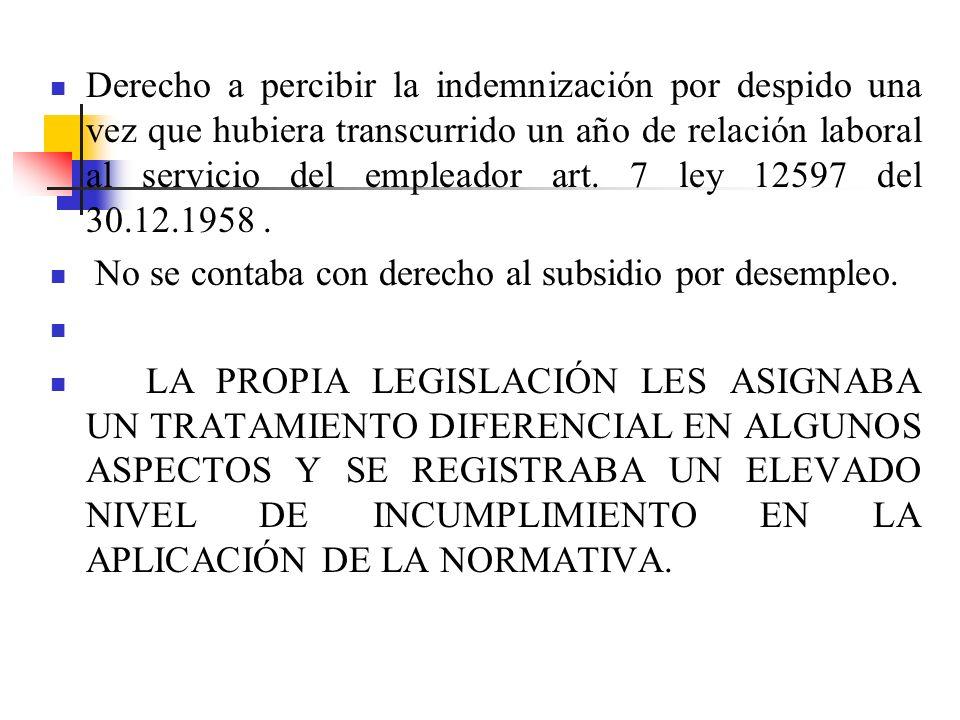 Derecho a percibir la indemnización por despido una vez que hubiera transcurrido un año de relación laboral al servicio del empleador art.
