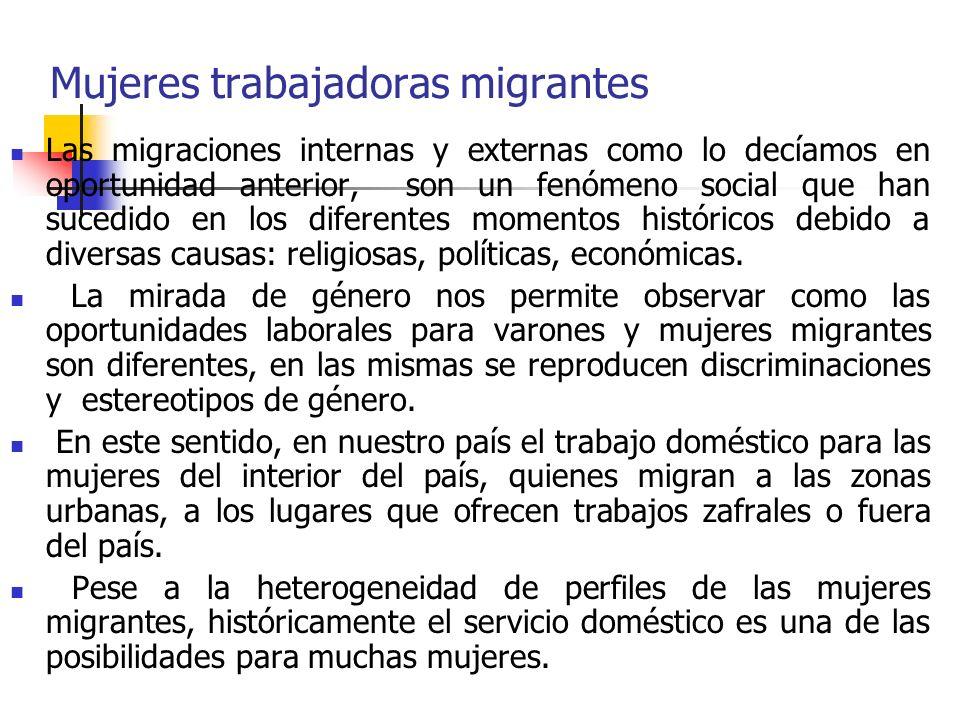 Mujeres trabajadoras migrantes Las migraciones internas y externas como lo decíamos en oportunidad anterior, son un fenómeno social que han sucedido en los diferentes momentos históricos debido a diversas causas: religiosas, políticas, económicas.