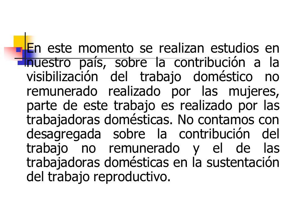 En este momento se realizan estudios en nuestro país, sobre la contribución a la visibilización del trabajo doméstico no remunerado realizado por las mujeres, parte de este trabajo es realizado por las trabajadoras domésticas.