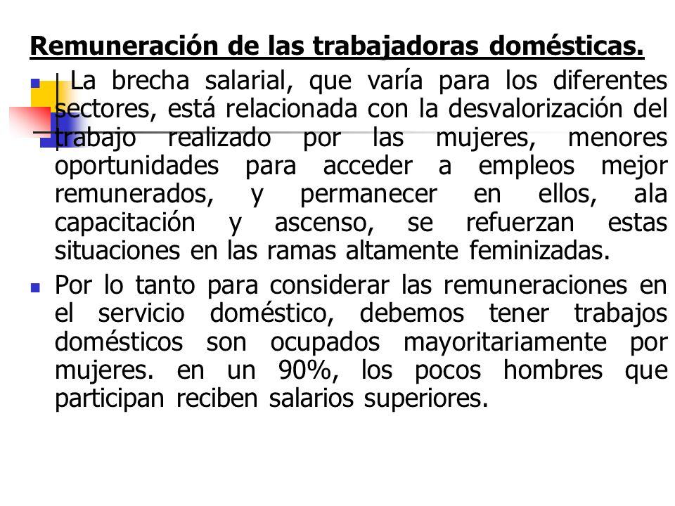 Según información[1] del año 2006 en los trabajos domésticos, el 14% de las mujeres trabaja en el servicio doméstico (otros datos estiman que este porcentaje es del 19%).[1] Un 30 % de las trabajadoras domésticas, están subempleadas, el 58,4% no realizaba aportes a la Seguridad Social.
