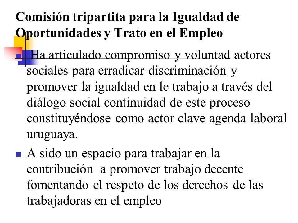 Comisión tripartita para la Igualdad de Oportunidades y Trato en el Empleo Ha articulado compromiso y voluntad actores sociales para erradicar discriminación y promover la igualdad en le trabajo a través del diálogo social continuidad de este proceso constituyéndose como actor clave agenda laboral uruguaya.