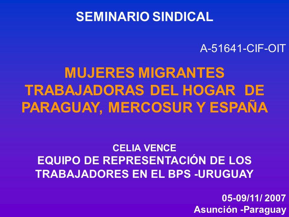 SEMINARIO SINDICAL A-51641-CIF-OIT MUJERES MIGRANTES TRABAJADORAS DEL HOGAR DE PARAGUAY, MERCOSUR Y ESPAÑA CELIA VENCE EQUIPO DE REPRESENTACIÓN DE LOS