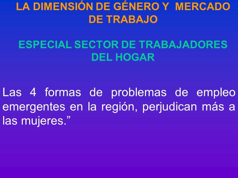 LA DIMENSIÓN DE GÉNERO Y MERCADO DE TRABAJO ESPECIAL SECTOR DE TRABAJADORES DEL HOGAR Las 4 formas de problemas de empleo emergentes en la región, per