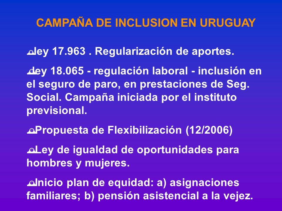 CAMPAÑA DE INCLUSION EN URUGUAY ley 17.963. Regularización de aportes. ley 18.065 - regulación laboral - inclusión en el seguro de paro, en prestacion