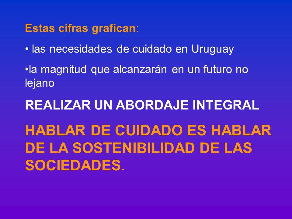 Estas cifras grafican: las necesidades de cuidado en Uruguay la magnitud que alcanzarán en un futuro no lejano REALIZAR UN ABORDAJE INTEGRAL HABLAR DE
