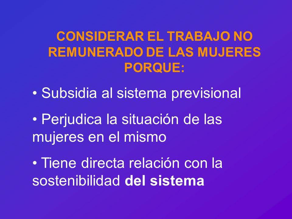 CONSIDERAR EL TRABAJO NO REMUNERADO DE LAS MUJERES PORQUE: Subsidia al sistema previsional Perjudica la situación de las mujeres en el mismo Tiene dir