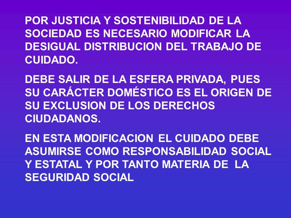POR JUSTICIA Y SOSTENIBILIDAD DE LA SOCIEDAD ES NECESARIO MODIFICAR LA DESIGUAL DISTRIBUCION DEL TRABAJO DE CUIDADO. DEBE SALIR DE LA ESFERA PRIVADA,
