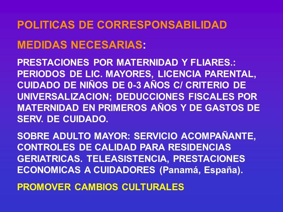 POLITICAS DE CORRESPONSABILIDAD MEDIDAS NECESARIAS: PRESTACIONES POR MATERNIDAD Y FLIARES.: PERIODOS DE LIC. MAYORES, LICENCIA PARENTAL, CUIDADO DE NI