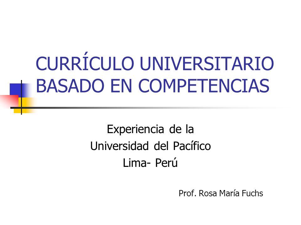 CURRÍCULO UNIVERSITARIO BASADO EN COMPETENCIAS Experiencia de la Universidad del Pacífico Lima- Perú Prof. Rosa María Fuchs