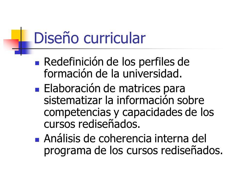 Diseño curricular Redefinición de los perfiles de formación de la universidad. Elaboración de matrices para sistematizar la información sobre competen