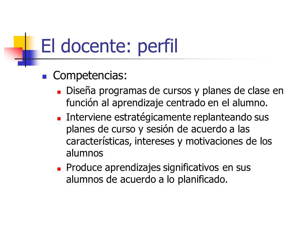 El docente: perfil Competencias: Diseña programas de cursos y planes de clase en función al aprendizaje centrado en el alumno. Interviene estratégicam