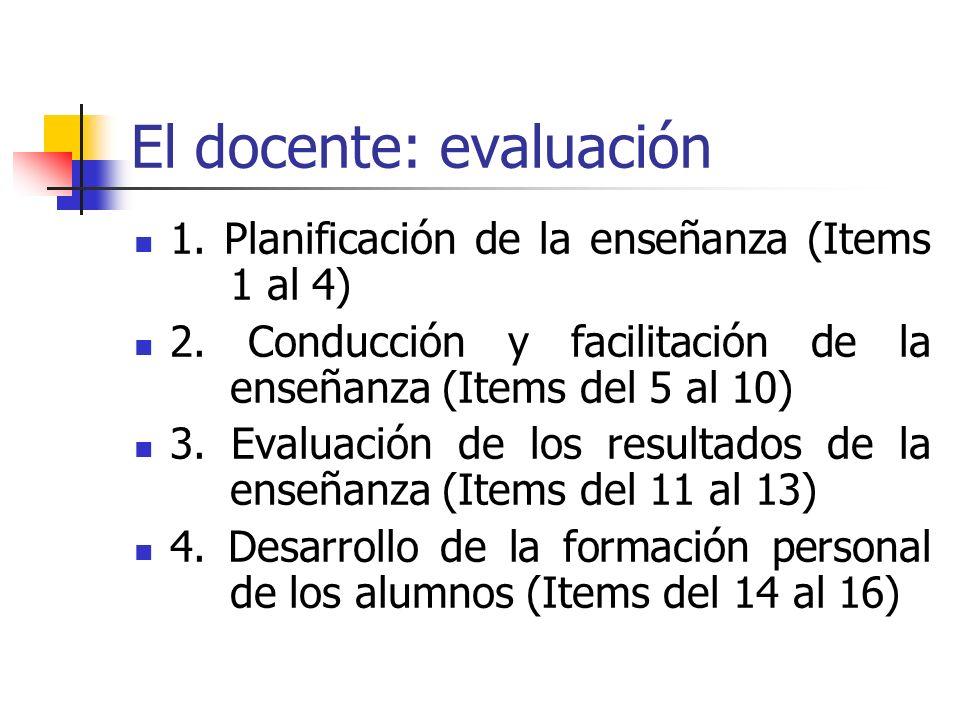 El docente: evaluación 1. Planificación de la enseñanza (Items 1 al 4) 2. Conducción y facilitación de la enseñanza (Items del 5 al 10) 3. Evaluación