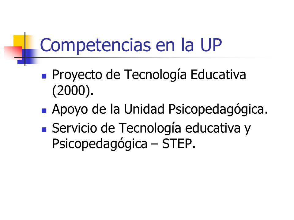 Competencias en la UP Proyecto de Tecnología Educativa (2000). Apoyo de la Unidad Psicopedagógica. Servicio de Tecnología educativa y Psicopedagógica