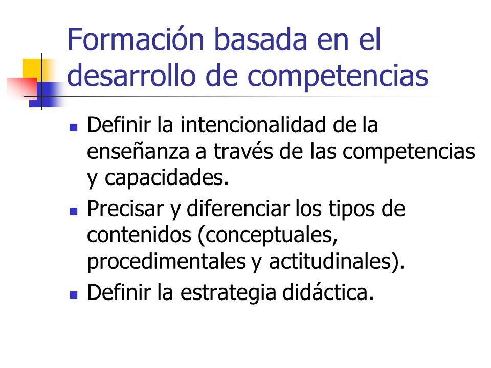Formación basada en el desarrollo de competencias Definir la intencionalidad de la enseñanza a través de las competencias y capacidades. Precisar y di