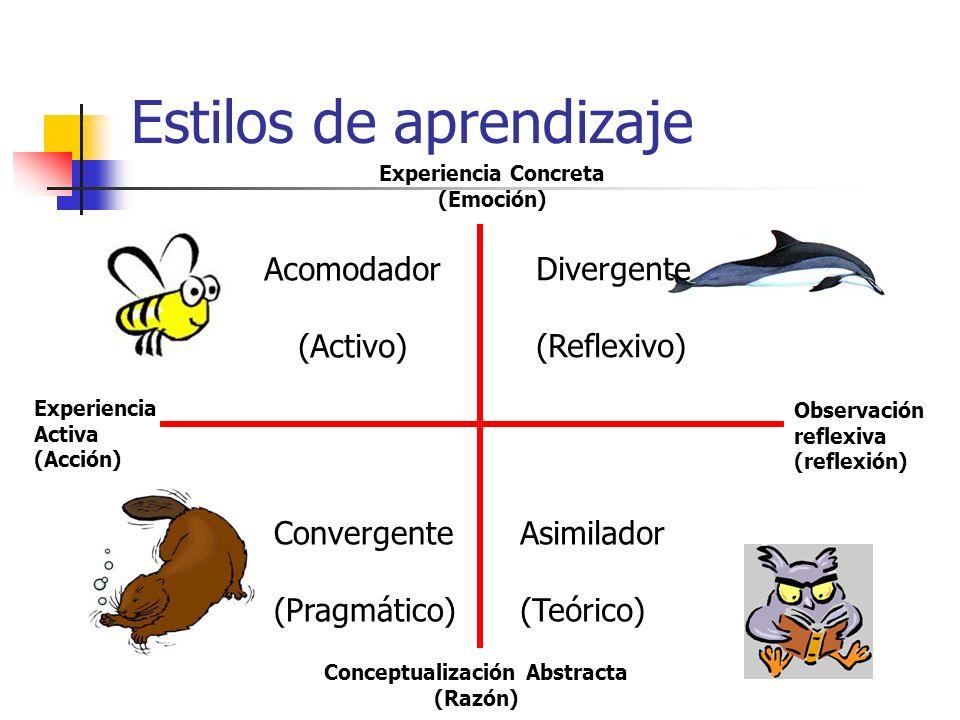 Estilos de aprendizaje Experiencia Activa (Acción) Acomodador (Activo) Divergente (Reflexivo) Convergente (Pragmático) Asimilador (Teórico) Conceptual