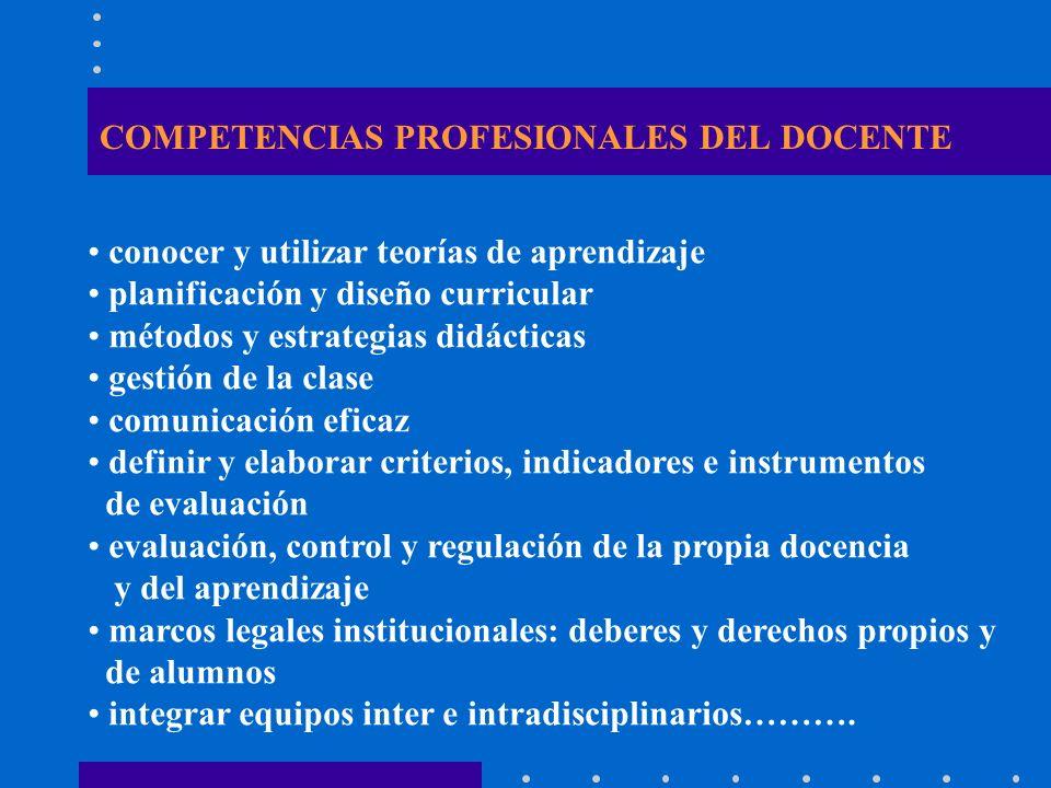 COMPETENCIAS PROFESIONALES DEL DOCENTE conocer y utilizar teorías de aprendizaje planificación y diseño curricular métodos y estrategias didácticas ge