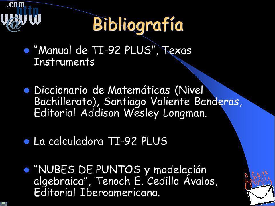 Bibliografía Manual de TI-92 PLUS, Texas Instruments Diccionario de Matemáticas (Nivel Bachillerato), Santiago Valiente Banderas, Editorial Addison We