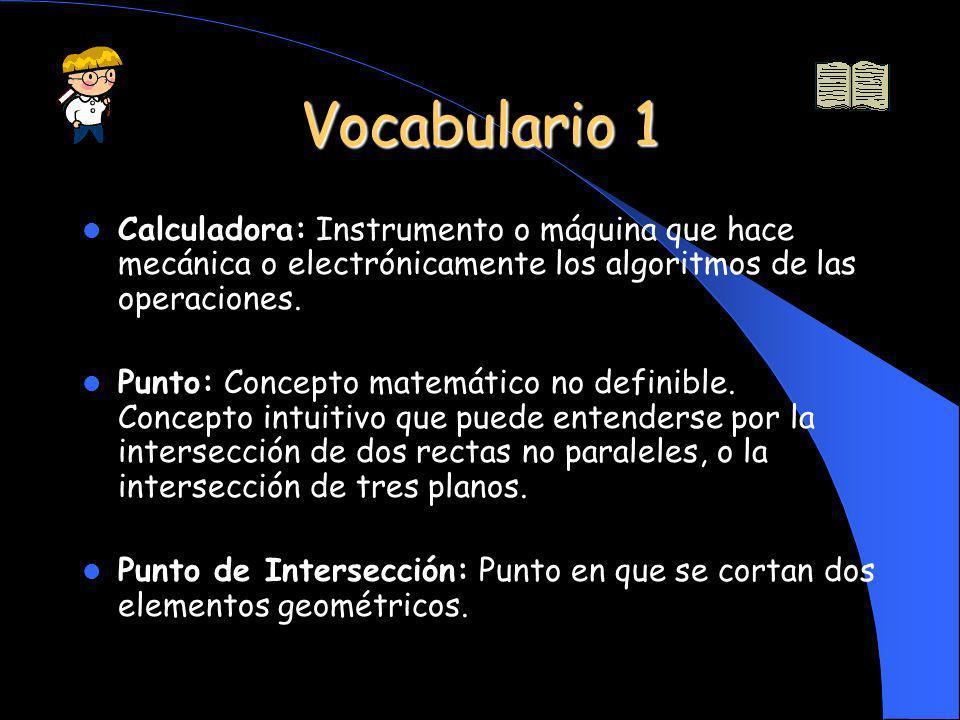 Vocabulario 1 Calculadora: Instrumento o máquina que hace mecánica o electrónicamente los algoritmos de las operaciones. Punto: Concepto matemático no