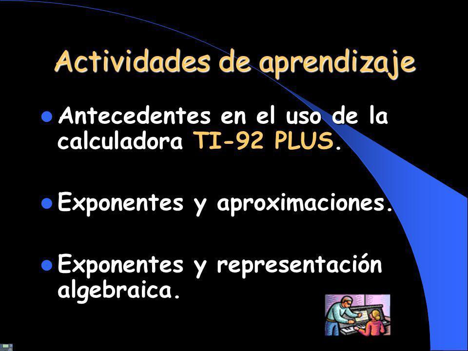 Actividades de aprendizaje Antecedentes en el uso de la calculadora. Antecedentes en el uso de la calculadora TI-92 PLUS. Exponentes y aproximaciones.