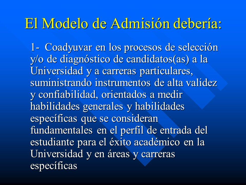 El Modelo de Admisión debería: 1- Coadyuvar en los procesos de selección y/o de diagnóstico de candidatos(as) a la Universidad y a carreras particular