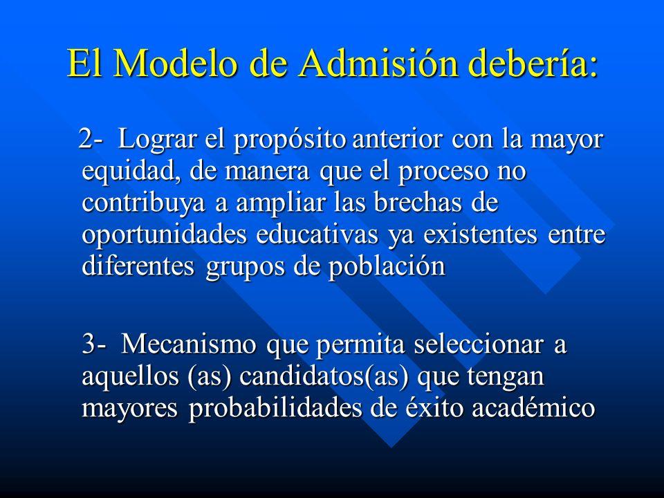 El Modelo de Admisión debería: 2- Lograr el propósito anterior con la mayor equidad, de manera que el proceso no contribuya a ampliar las brechas de o