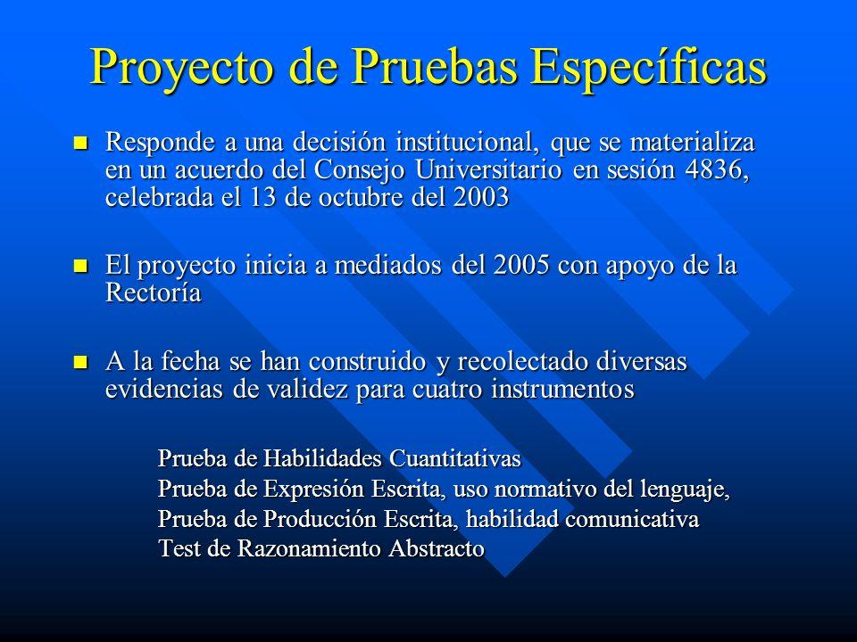 Proyecto de Pruebas Específicas Responde a una decisión institucional, que se materializa en un acuerdo del Consejo Universitario en sesión 4836, cele