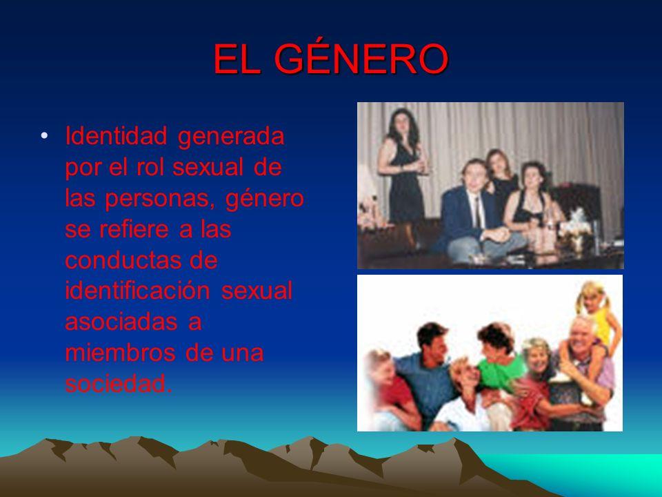 EL GÉNERO Identidad generada por el rol sexual de las personas, género se refiere a las conductas de identificación sexual asociadas a miembros de una