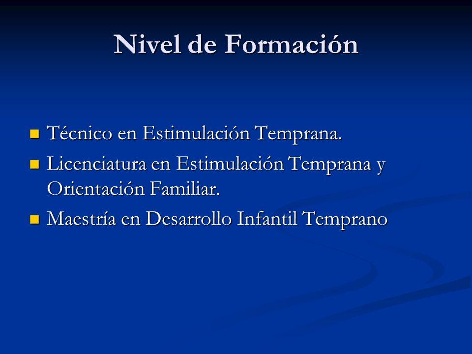 Nivel de Formación Técnico en Estimulación Temprana. Técnico en Estimulación Temprana. Licenciatura en Estimulación Temprana y Orientación Familiar. L